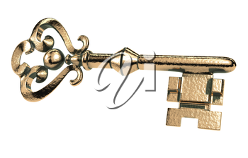 Abstract retro golden key with grunge on a white background. Key gold vintage isolated object
