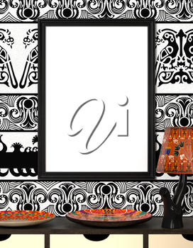 Mock up interior. Bright African plate and the lamp with traditional ornaments. Wooden frame with blank canvas on a black and white background with floral ornament. 3d rendering.