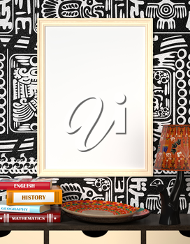 Mock up interior. Books on a wooden table. Bright African plate and the lamp with traditional ornaments. Light wooden frame with blank canvas on a black and white background with tribal ornaments. 3d