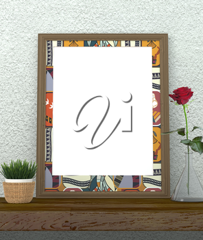 Mock up interior. Frame with bright ethnic ornament. Green grass in a pot on a wooden table. Red Rose in a glass vase. Rough gray plastered wall. 3d rendering