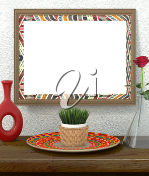 Mock up interior. Frame with bright ethnic ornament on rough plastered walls. Green grass in a pot on a bright African dish. Red Rose in a glass vase. Red vase and dish ethnic, tribal style. 3d render