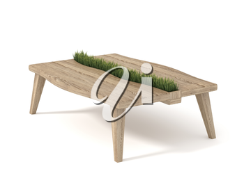 Wooden table with built-in pot with green grass, isolated on white background. 3d rendering.