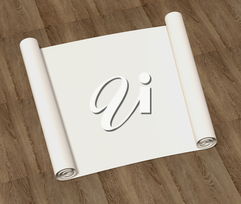 Pure empty roll of drawing paper on a wooden surface. 3D illustration