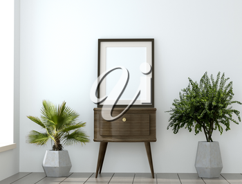 mock up with empty frame and plants in the granite vases. 3D illustration. 3D rendering 