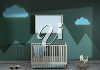 3d illustration of a children's room with a baby bed and toys. Mock up of the children's bedroom