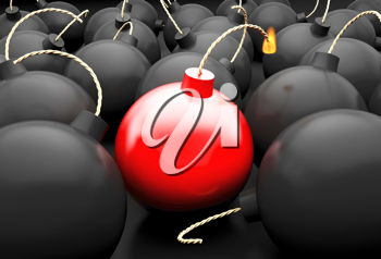 Royalty Free Clipart Image of a Group of Bombs with One of the Fuses Lit