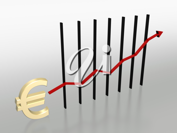 Royalty Free Clipart Image of a Chart With a Euro Symbol