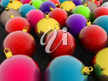 Royalty Free Clipart Image of a Glass Christmas Ornaments