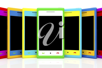 Royalty Free Clipart Image of Smartphones