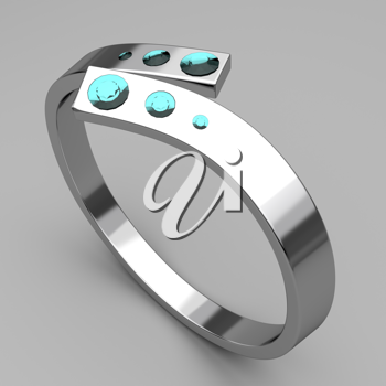 Royalty Free Clipart Image of a Silver Ring With Turquoise Gems