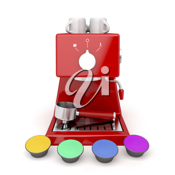 Coffee machine with different coffee capsules