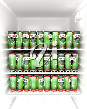 Fridge full with beer cans