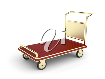Golden hotel baggage cart on white background