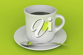Tea cup on green background