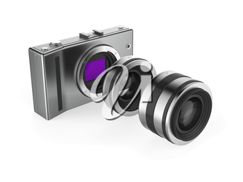 Mirrorless camera with lenses on white background