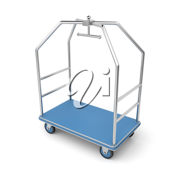 Silver luggage cart on white background
