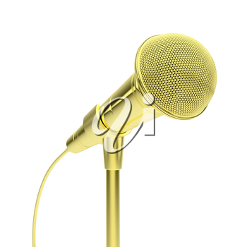 Royalty Free Clipart Image of a Gold Microphone