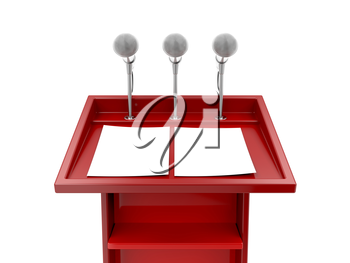 Royalty Free Clipart Image of Microphones on a Podium