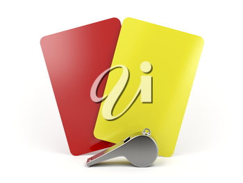 Red and yellow cards and metal whistle