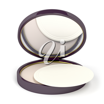 Face powder with mirror on white background