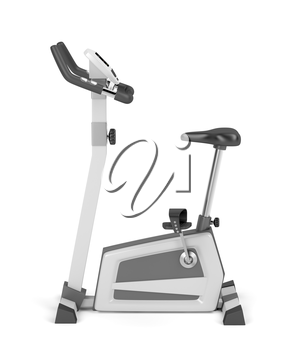 Exercise bicycle on white background