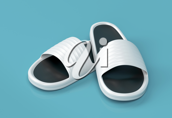 White rubber slippers on shiny background