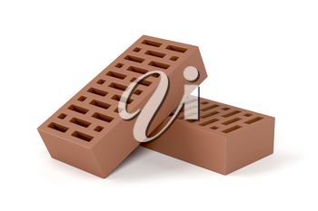 Two red clay bricks on white background