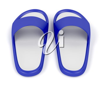 Blue rubber slippers on white background