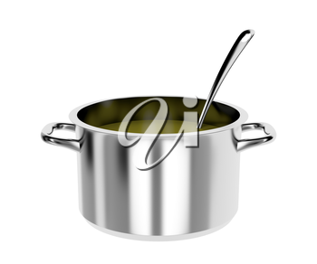 Pot with soup and ladle, isolated on white background