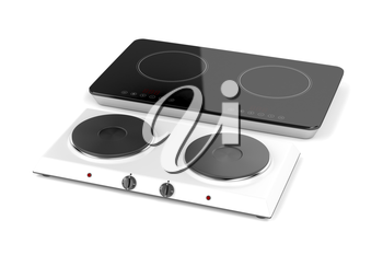 Double hot plate and induction cooktop on white background