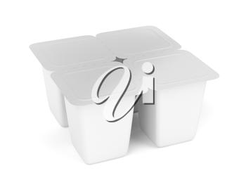 White plastic containers for yogurt, ice cream, pudding or other things, four pack