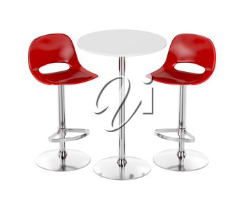 Bar table and stools on white background