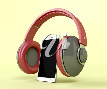 Red trendy headphones and white smartphone on yellow background