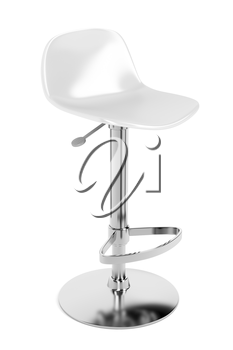 White plastic bar stool on white background