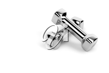 Set of small metal dumbbells on white background