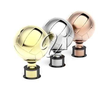 Gold, silver and bronze volleyball trophies on white background