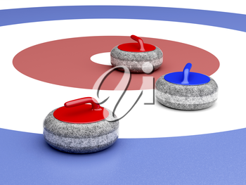Curling stones near the target area