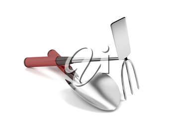 Garden trowel and hoe on white background