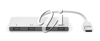 Usb hub with four ports on white background