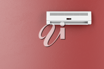 Split-system air conditioner on red wall