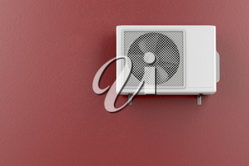 Air conditioner mounted on the red wall