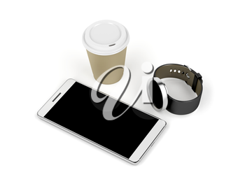 Smartphone, smartwatch and paper coffee cup on white background