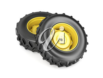 Two tractor wheels on white background