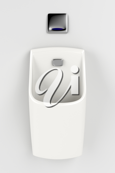 Urinal with sensor on gray wall