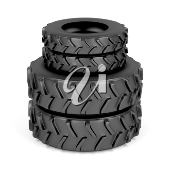 Front and rear tractor tires on white background