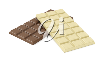 White and brown chocolate bars on white background