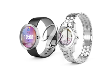 Smartwatch and silver wristwatch on white background