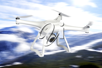 Drone equipped with high resolution camera, fly over the mountain