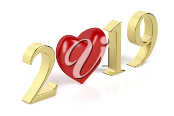 Happy new year 2019 card with gold numbers and red heart