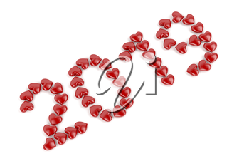 Happy new year 2019 with red hearts